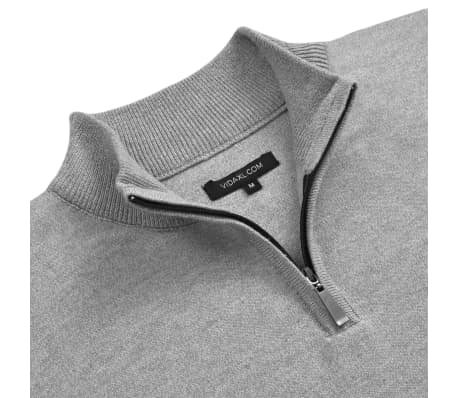 vidaXL Men's Zip Pullover Sweater Grey M[2/5]