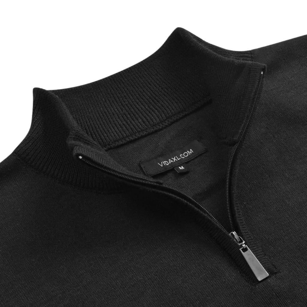 vidaXL Pánský svetr se zipem černý vel. XL