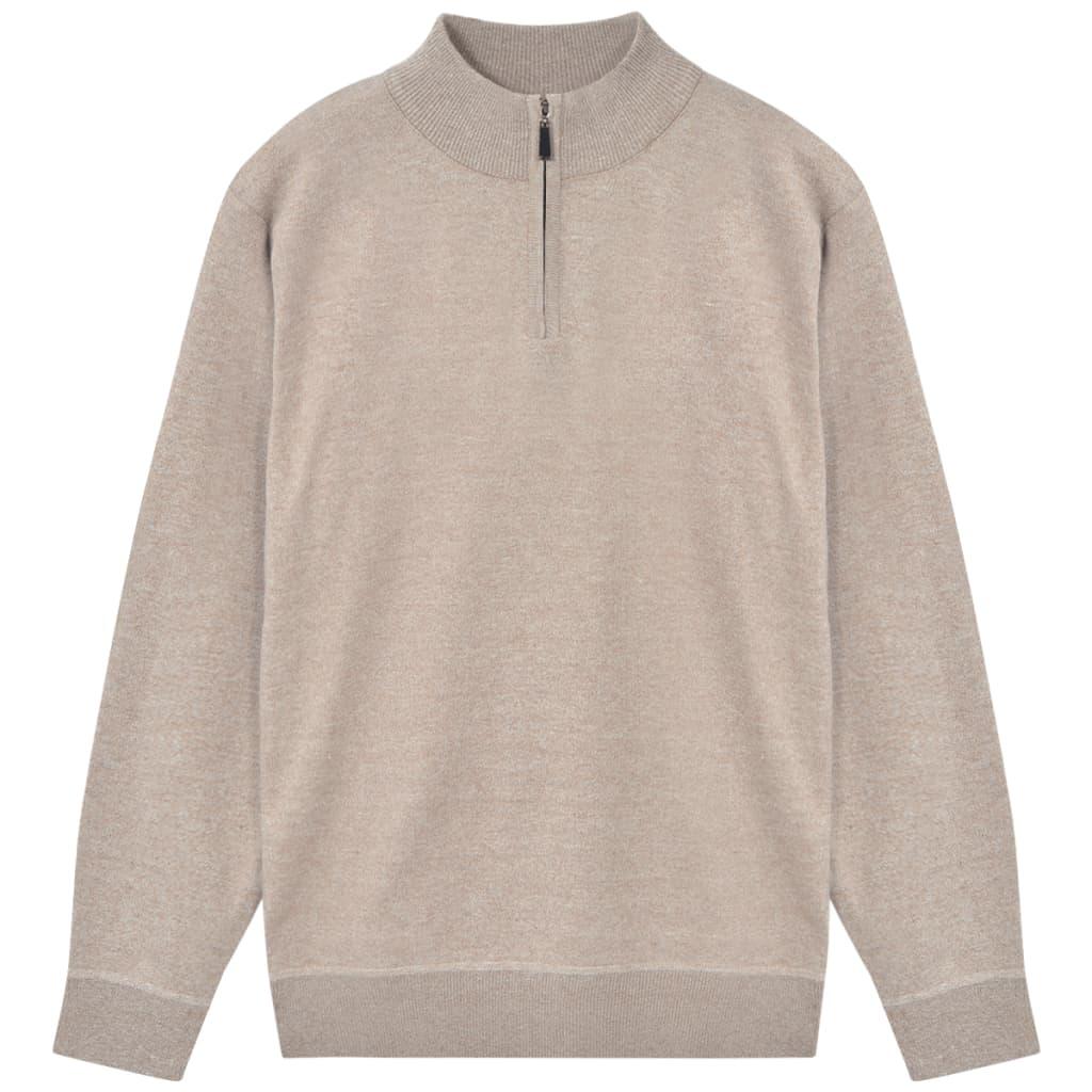 999131694 Herren Pullover Sweater mit Reißverschluss Beige M