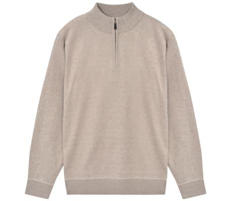 vidaXL Pánský svetr se zipem béžový vel. M[1/5]