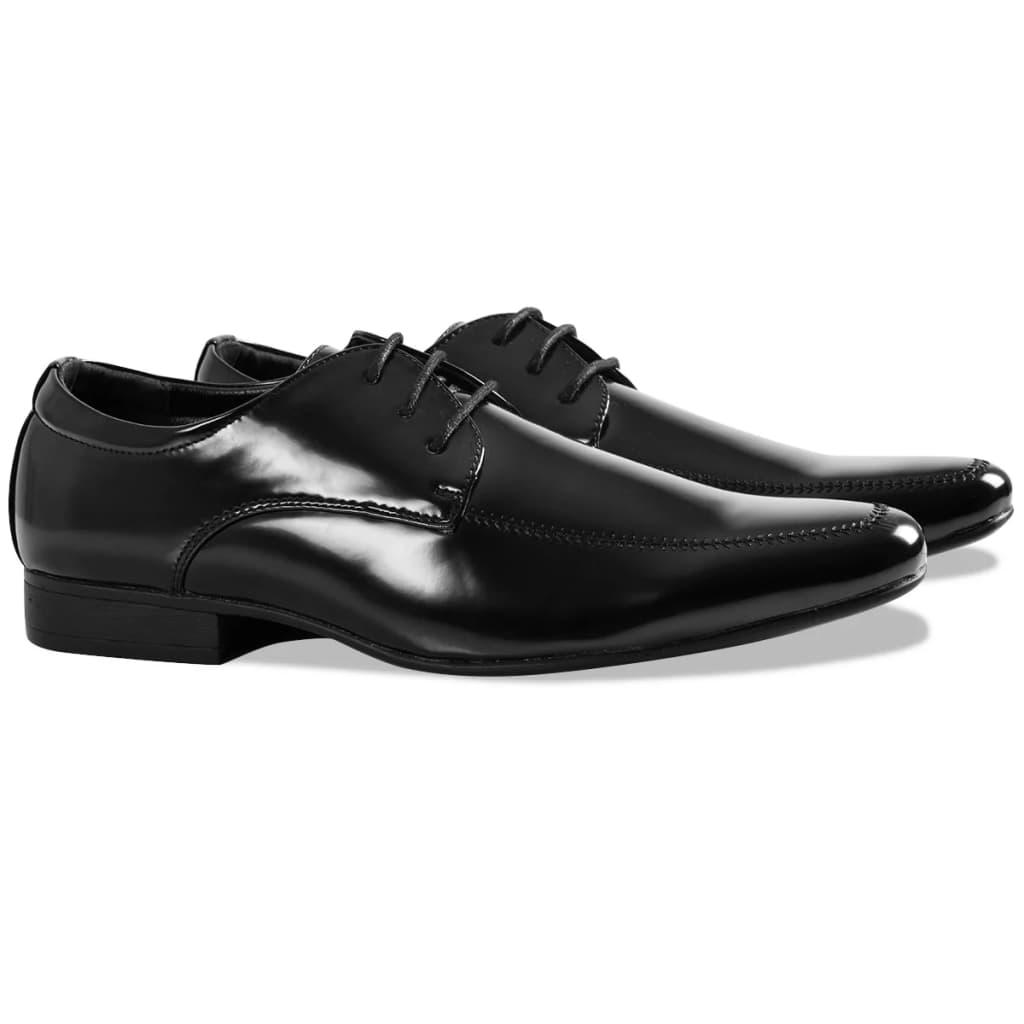 vidaXL Pantofi bărbătești de costum de ocazie, frac, mărimea 41, negru poza vidaxl.ro