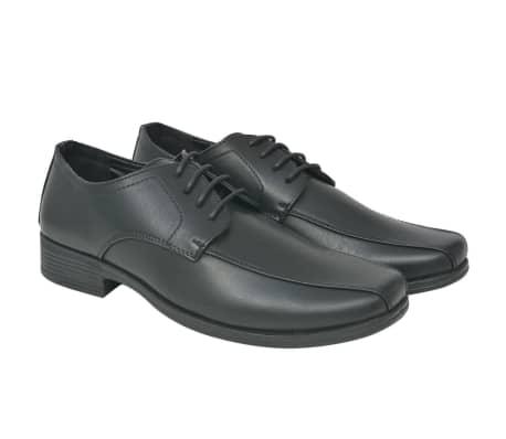 vidaXL Pantofi bărbătești cu șiret, piele PU, negru, mărimea 41[1/5]
