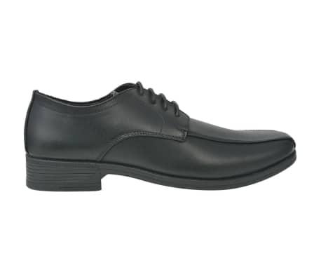 vidaXL Pantofi bărbătești cu șiret, piele PU, negru, mărimea 41[2/5]