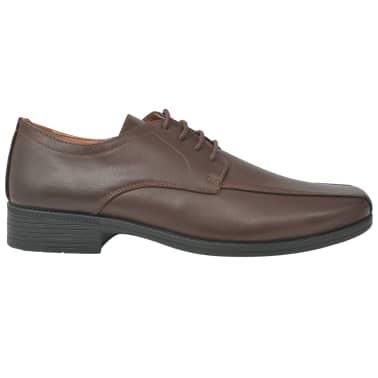 vidaXL Pantofi bărbătești cu șiret, piele PU, maro, mărimea 40[2/5]