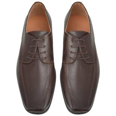 vidaXL Pantofi bărbătești cu șiret, piele PU, maro, mărimea 40[3/5]