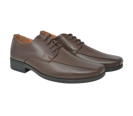 vidaXL Men's Business Shoes Lace-Up Brown Size 7.5 PU Leather[1/5]