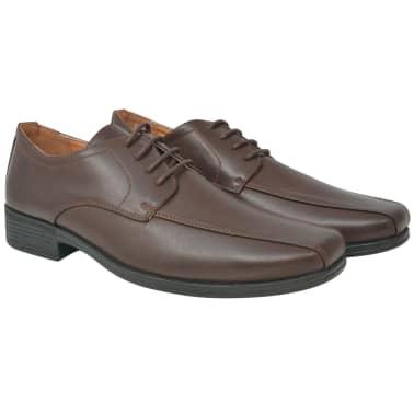 vidaXL Sapatos clássicos homem c/ atacadores tam. 41 couro PU castanho[1/5]