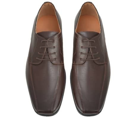 vidaXL Men's Business Shoes Lace-Up Brown Size 7.5 PU Leather[3/5]