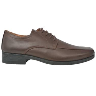 vidaXL Sapatos clássicos homem c/ atacadores tam. 41 couro PU castanho[2/5]
