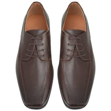 vidaXL Sapatos clássicos homem c/ atacadores tam. 41 couro PU castanho[3/5]