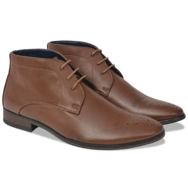 vidaXL Sapatos/botas homem c/ atacadores castanho tamanho 40 couro PU[1/5]