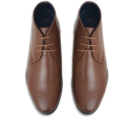 vidaXL Sapatos/botas homem c/ atacadores castanho tamanho 40 couro PU[3/5]