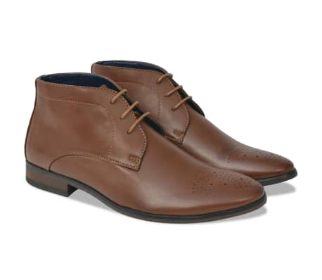 vidaXL Men's Lace-Up Ankle Boots Brown Size 9.5 PU Leather[1/5]