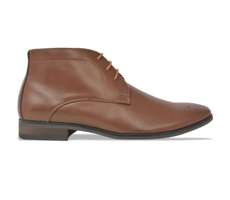 vidaXL Men's Lace-Up Ankle Boots Brown Size 9.5 PU Leather[2/5]