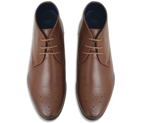 vidaXL Pánske šnurovacie členkové topánky, hnedé, veľkosť 43, PU koža[3/5]