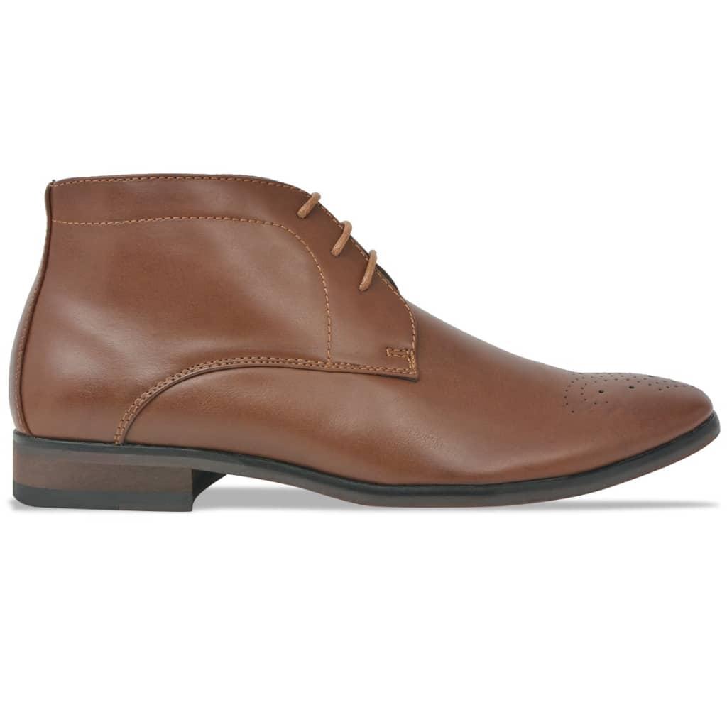 vidaXL Pánské šněrovací kotníkové boty hnědé vel. 45 PU kůže