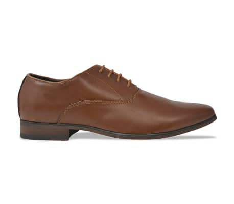 vidaXL Sapatos clássicos homem c/ atacadores tam. 42 couro PU castanho[2/5]
