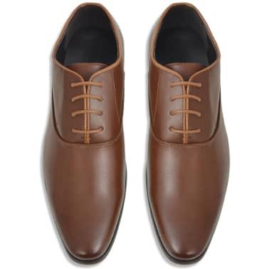 vidaXL Sapatos clássicos homem c/ atacadores tam. 42 couro PU castanho[3/5]