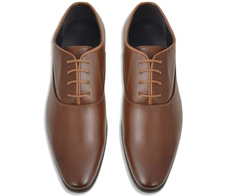 vidaXL Men's Business Shoes Lace-Up Brown Size 9.5 PU Leather[3/5]