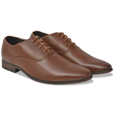 vidaXL Pantofi business bărbați, cu șiret, mărime 44, piele PU, maro[1/5]