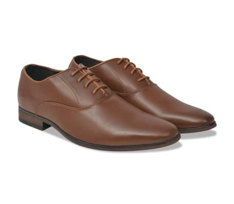vidaXL Pantofi business cu șiret, bărbați, mărime 45, piele PU, maro[1/5]