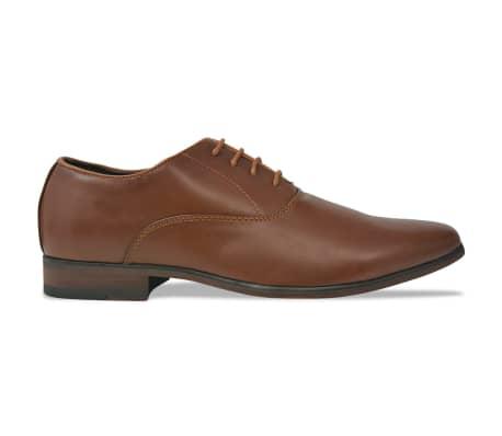 vidaXL Pantofi business cu șiret, bărbați, mărime 45, piele PU, maro[2/5]