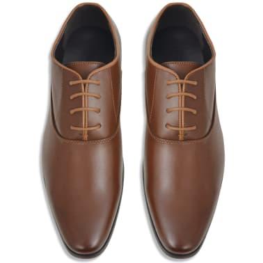 vidaXL Pantofi business cu șiret, bărbați, mărime 45, piele PU, maro[3/5]