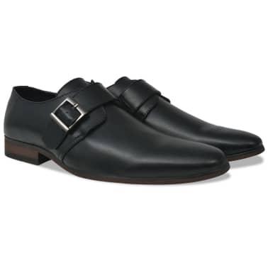 vidaXL Pantofi cu cataramă, bărbați, mărime 40, piele PU, negru[1/5]