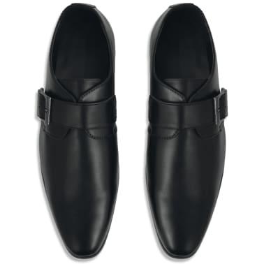 vidaXL Pantofi cu cataramă, bărbați, mărime 40, piele PU, negru[3/5]