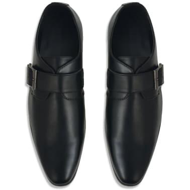 vidaXL Pánske topánky s prackou, čierne, veľkosť 42, PU koža[3/5]
