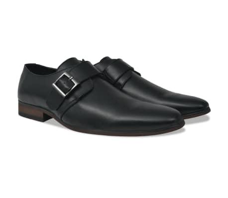 vidaXL Sapatos de homem c/ fivelas tamanho 45 couro PU preto