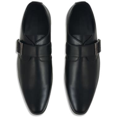 vidaXL Pantofi cu cataramă, bărbați, mărime 45, piele PU, negru[3/5]
