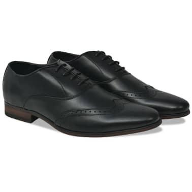 vidaXL Pantofi bărbați Brogue cu șiret, mărime 41, piele PU, negru[1/5]