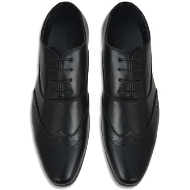 vidaXL Pantofi bărbați Brogue cu șiret, mărime 41, piele PU, negru[3/5]