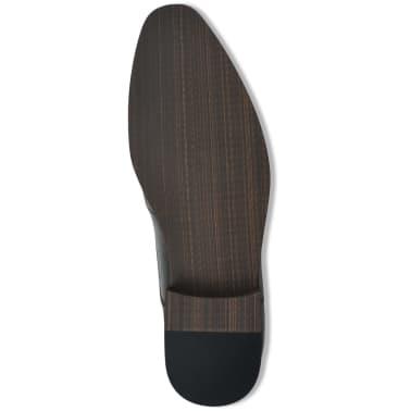 vidaXL Pantofi bărbați Brogue cu șiret, mărime 41, piele PU, negru[4/5]