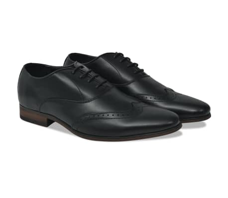 vidaXL Men's Lace-Up Brogues Black Size 9.5 PU Leather[1/5]