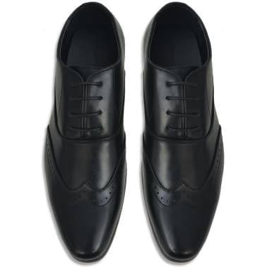 vidaXL Sapatos brogue homem c/ atacadores tamanho 43 couro PU preto[3/5]