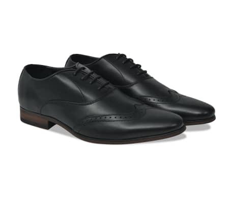 vidaXL Pantofi bărbați Brogue cu șiret, mărime 44, piele PU, negru