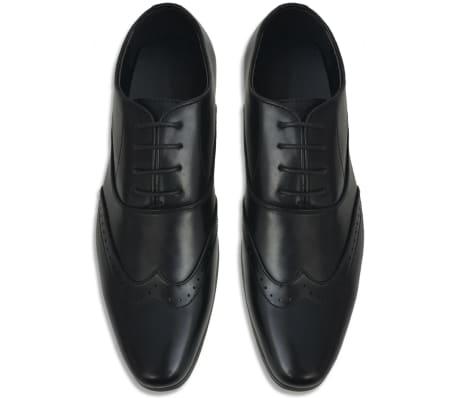vidaXL Moški čevlji z vezalkami črni velikost 44 PU usnje[3/5]