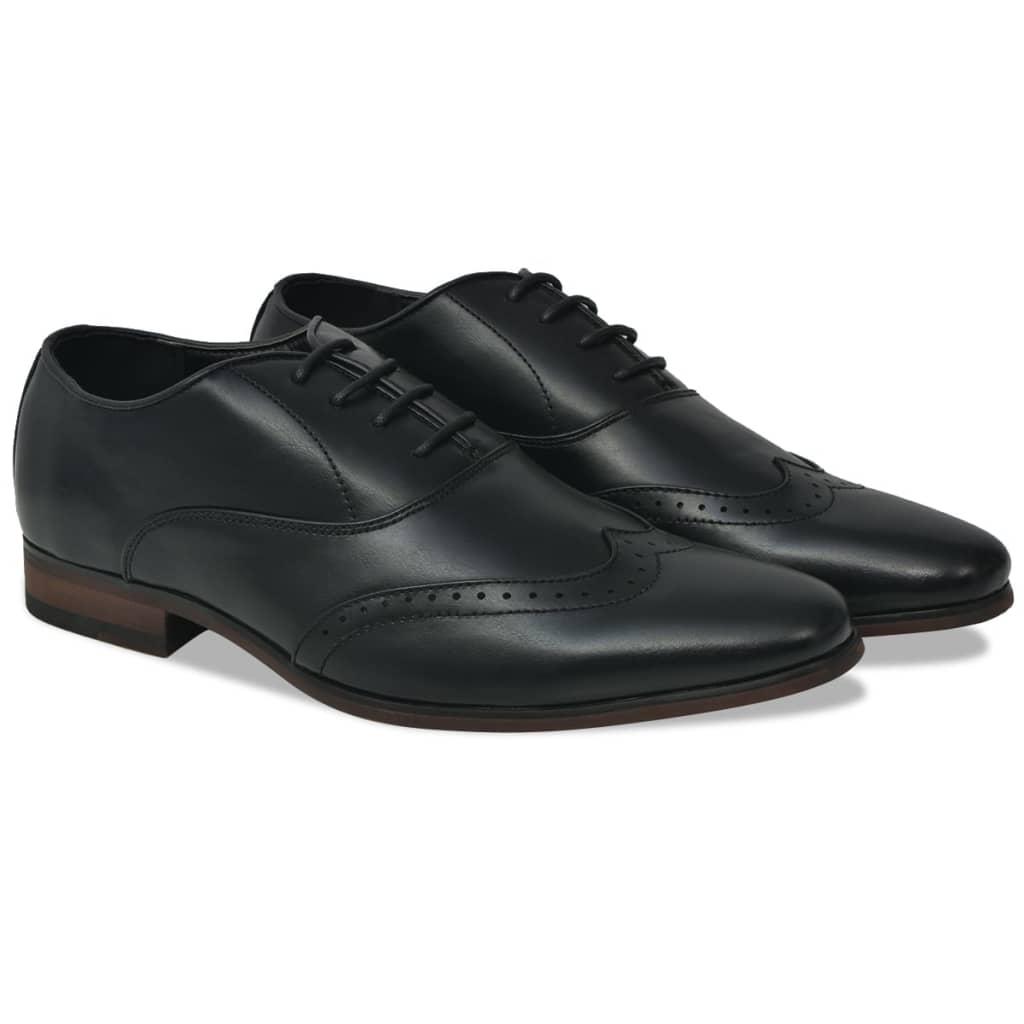 vidaXL Pantofi bărbați Brogue cu șiret, mărime 45, piele PU, negru poza vidaxl.ro