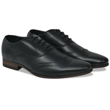 vidaXL Pantofi bărbați Brogue cu șiret, mărime 45, piele PU, negru[1/5]
