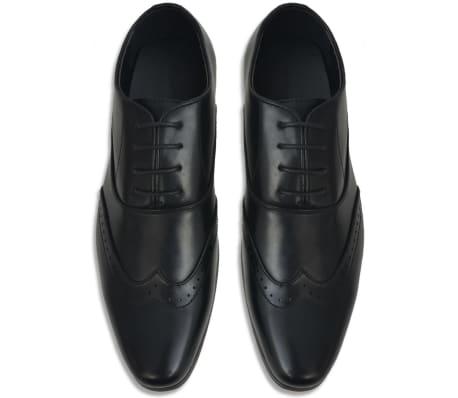 vidaXL Pantofi bărbați Brogue cu șiret, mărime 45, piele PU, negru[3/5]