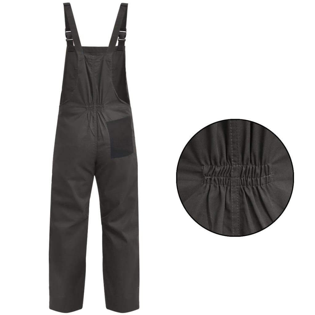 vidaXL Pánské montérky s laclem L šedé