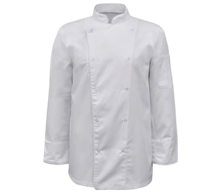 vidaXL Chef Jackets 2 pcs Long Sleeve Size XL White