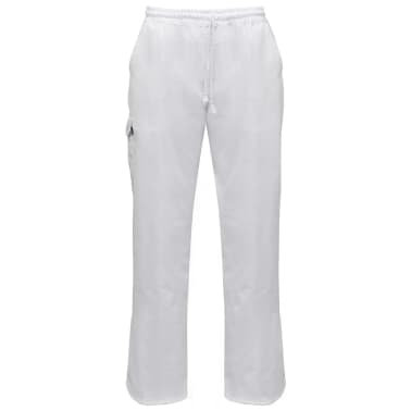 vidaXL Chef Pants 2 pcs Stretchable Waistband with Cord Size S White[1/5]