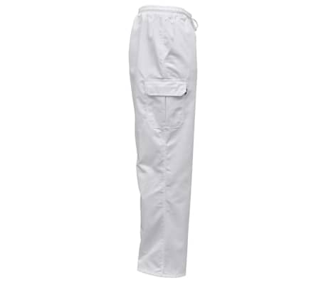 vidaXL Chef Pants 2 pcs Stretchable Waistband with Cord Size S White[3/5]