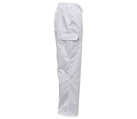 vidaXL Šefo kelnės, 2vnt., tampri liemens juosta su virve, XL, baltos[3/5]