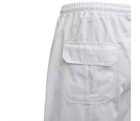 vidaXL Šefo kelnės, 2vnt., tampri liemens juosta su virve, XL, baltos[4/5]