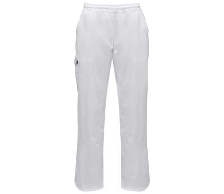 vidaXL Pantaloni bucătar, talie extensibilă, mărimea XXL, alb, 2 buc.[1/5]