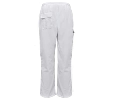 vidaXL Pantaloni bucătar, talie extensibilă, mărimea XXL, alb, 2 buc.[2/5]